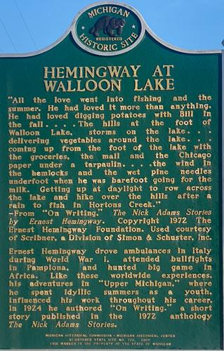 hemingway in michigan plaque quote