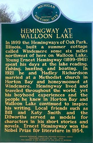 hemingway in michigan plaque story