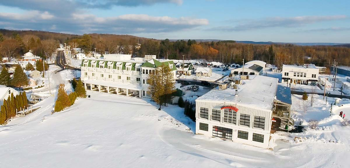 walloon lake aerial in winter