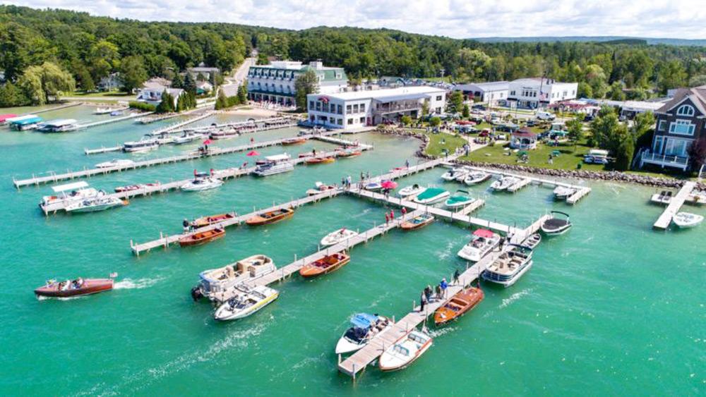 boats docked in walloon lake, michigan